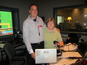 In the studio at CBC Radio in Toronto Host Robin Brown and Cop Scott Mills