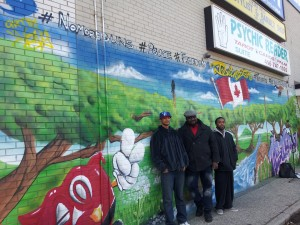 Graffiti Artist Wong @magicfinngaw joined by @Flow935 & Toronto Crime Stoppers @1800222tips ProAction Cops & Kids @CopsAndKidsca & 23 Division @TorontoPolice at @MyMacs Graffiti Art Mural Unveiling Friday December 14, 2012 at Mac's Convenience Store 2428 Islington Av, Toronto, Ontario Canada