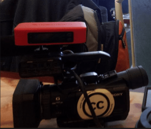 Joey Coleman uses a  Sony HXR-NX70U waterproof camera and a @LiveStream Procaster to update the public from official police & fire sources on emerging events in Hamilton, Ontario