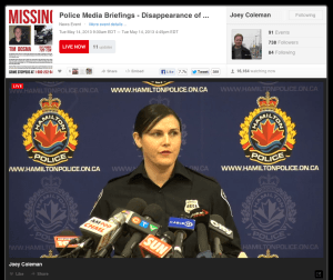 Over 16,000 live viewers watch Hamilton Police Service Media Relations Officer announce next press conference in Tim Bosma homicide investigation. Traditional media cameras off, independent journalist Joey Coleman camera still rolling informing his viewers to watch update 4 hours later