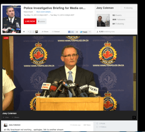 Staff Sergeant Matt Kavanagh of the Hamilton Police Service Homicide Unit stated publicly during the Tim Bosma homicide investigation that social media was important and an officer had been dedicated to monitoring social media for the investigation. Many more community members,  police officers and Crime Stoppers programs far a wide were using social media to ask the public to call the Hamilton Police tip line 905-546-2100 or Crime Stoppers anonymously 1-800-222-8477, as well as by Text tips, Facebook leave a tip tab tips and online tips.