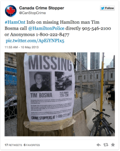 Canadian Crime Stoppers Association takes photo of missing person poster on the street & shares it to larger & engaged audience using social media to help police find Tim Bosma