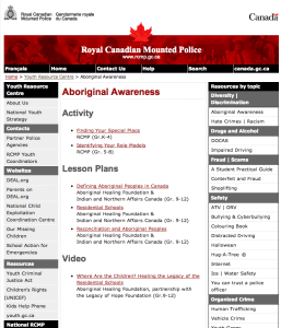 Aboriginal Awareness is promoted in a new RCMP Youth Resource Centre website. Click for details>  bit.ly/AboriginalAwarenessRCMP