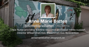 Toronto Street Nurse Anne Marie Batten is creating a not-for profit corporation called Real Time Crisis Intervention to save and improve lives using relationships, and social media tools