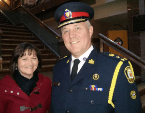 Toronto Street Nurse Anne Marie Batten informally meets Toronto Police Chief William Blair Wednesday November 20, 2013 in the lobby of Toronto Police HQ and chat about the potential of Real Time Crisis Intervention, a not for profit corporation that Anne Marie has started to use social media tools to save and improve lives