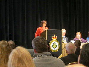 Toronto Street Nurse Anne Marie Batten presented her vision of Real Time Crisis Intervention at joint Canadian Association of Chiefs of Police & Mental Health Commission of Canada mental health conference at Fairmont Royal York Hotel, Toronto, Ontario Canada