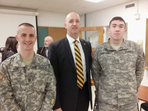 New York State Trooper Lieutenant Robert B. Appleton believes in mentoring students for success at Norwich University annual CSI & Technology Symposium. He is pictured with 2 students at the April 23, 2014 event. To follow the dialogue in social media click on hash tag #CSISymposium