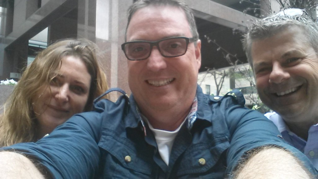 A negative twitter dialogue turned into a face to face meeting for good between citizen Kate Gille @KateGillieART, Brad McKay @228Brad and cop Scott Mills @GraffitiBMXCop August 21, 2015 at Toronto Police Headquarters on the topic of mental health